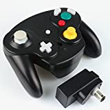 Exlene Wireless Controller Gamepad For Nintendo Gamecube(black),Compatible with Wii