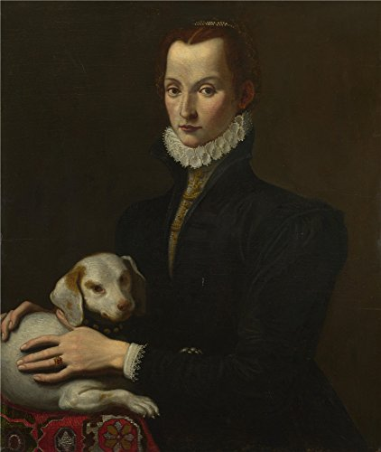 Polyster Canvas ,the Beautiful Art Decorative Canvas Prints Of Oil Painting 'Italian Portrait Of A Lady With A Dog ', 20 X 24 Inch / 51 X 60 Cm Is Best For Kitchen Gallery Art And Home Decoration And Gifts