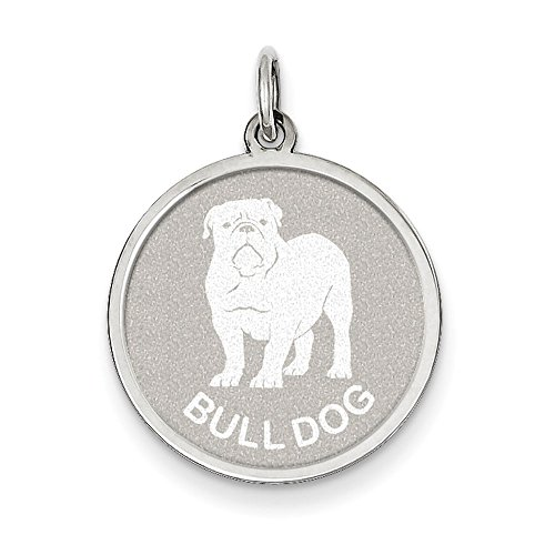 West Coast Jewelry Sterling Silver Bull Dog Disc Charm (Charm Disc Bulldog)