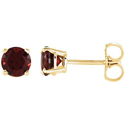 Jewels By Lux Set 14K Yellow Gold Genuine Mozambique Garnet 5 mm Friction Pair Polished Mozambique Garnet Earrings With Backs -