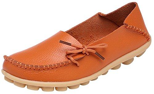 Fangsto Women's Soft Cowhide Leather Loafer Flat Shoes Slip-Ons Sty-1 Orange