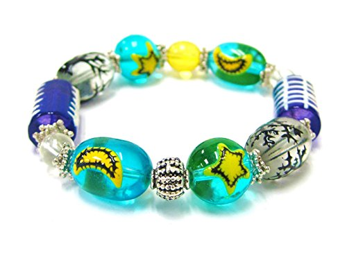 Linpeng 21 by 10mm Cylinder/11 by 13mm Oval/8 to 14mm Round Hand Painted Glass Beads Spooky Halloween Stretch Bracelet