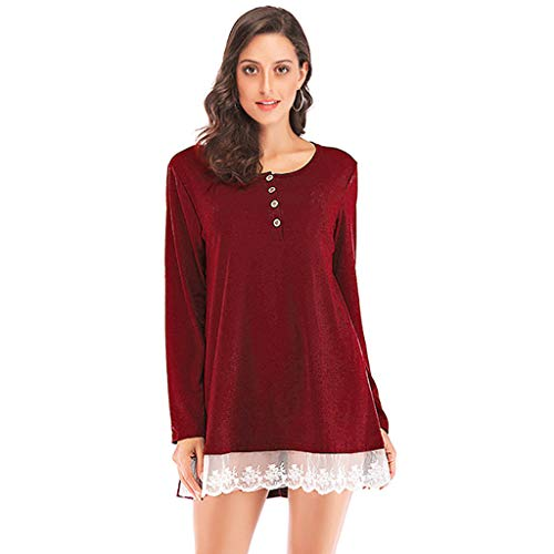 KASAAS Solid Long Sleeve O Neck Lace Trim Mini Dress for Women Patchwork Button T Shirt Pullover Tops ()