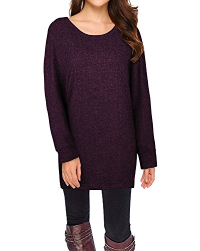 - STYLEWORD Women's Long Batwing Sleeve Pullover Loose Casual Knitted Sweater(Purple,M)