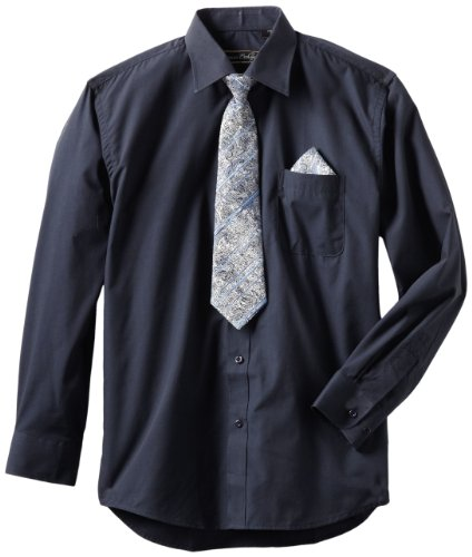 - American Exchange Big Boys' Dress Shirt with Tie and Pocket Square, Navy, 16