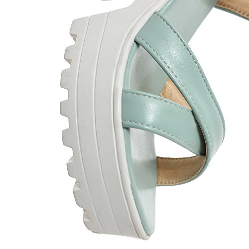 Amoonyfashion Hebilla Para Mujer De Tacón Alto Pu-sandalias Sólidas Azul