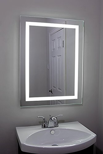 Large Beautiful Frameless Professional Makeup Mirror with Light for Bathroom or Vanity [Hardwired] - Backlit LED 24 x 32