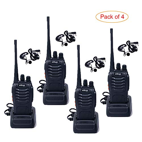 HESENATE HT-U666 Two Way Radio UHF: 400-470MHz 16-Channel Rechargeable Professional Transceiver LED Flashlight Walkie Talkie (Pack of 4) (Best Price Walkie Talkies)