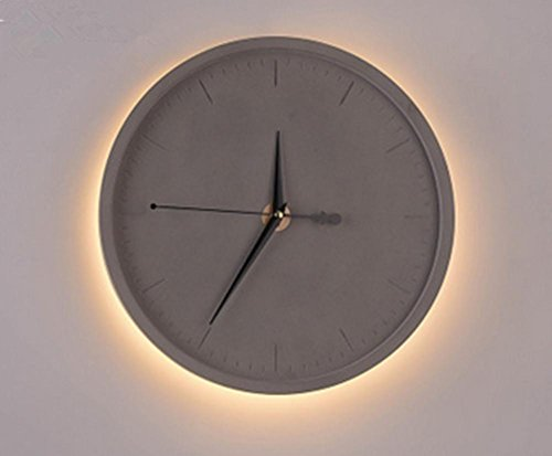 Cement Led Clock Nordic Wall Lamp Retro Industrial Wall Clock Wall Lamp Living Room Bedroom Art Creative Personality Watch Cement Wall Lamp (Diameter 30Cm, High 30Cm) , 3 by DMMSS