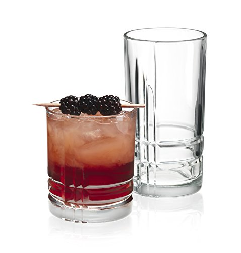 Set of 16 Drinking Glasses, Heavy Base Durable Glass Cups - 8 Highball Glasses (16oz) and 8 DOF Glasses (13oz), 16-piece Glassware Set ()
