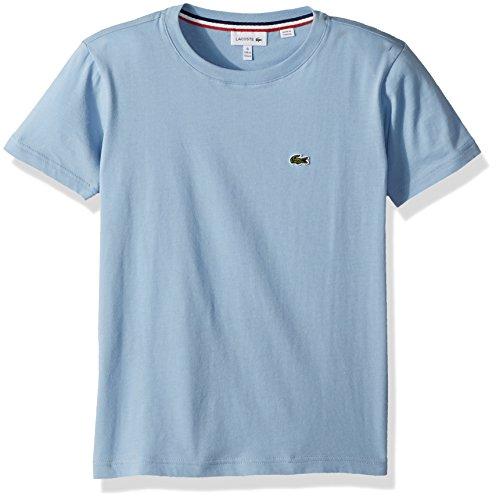 Lacoste Big Boys' Short Sleeve Solid Crew Tee Shirt, Dragonfly Blue, 8