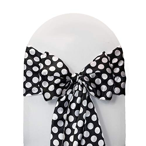 Your Chair Covers - Satin Sashes Black/White Polka Dots (Pack of 10), Chair Sashes for Weddings, Events, Hotels and Catering Services