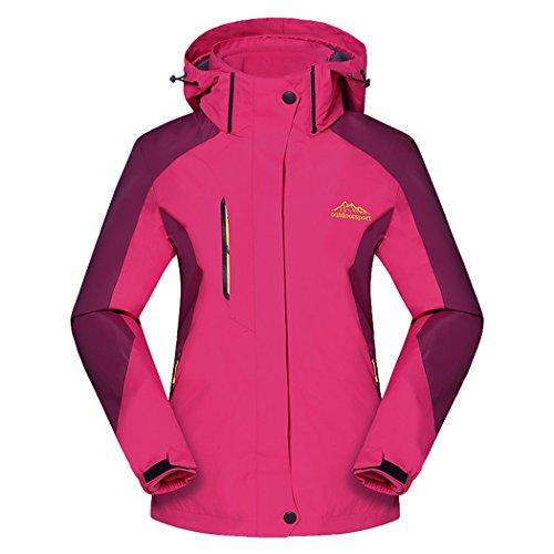 Real Spark(TM) Women 3 in 1 Detachable Fleece Liner Hiking Ski Windproof Outdoor Jacket Rose L