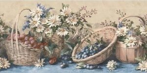 Waverly 5505611 Country Baskets and Sunflowers Wall Border Blue 1025-Inch Wide