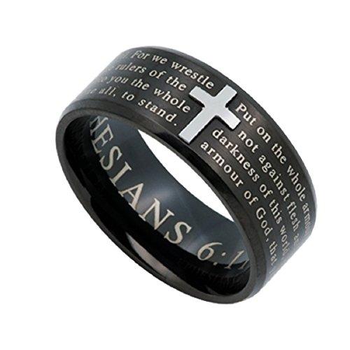 ARMOR OF GOD Jewelry Cross Ring For Men, Black Stainless Steel (12)
