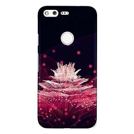 CrazyInk 3D Back Cover for Google Pixel XL   Pink Flower Transparent Mobile Accessories