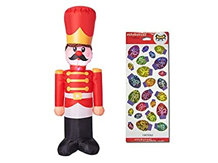 ropeastar toy soldier inflatable and christmas light bulb stickers set holiday outdoor or indoor decorations - Christmas Soldier Decorations