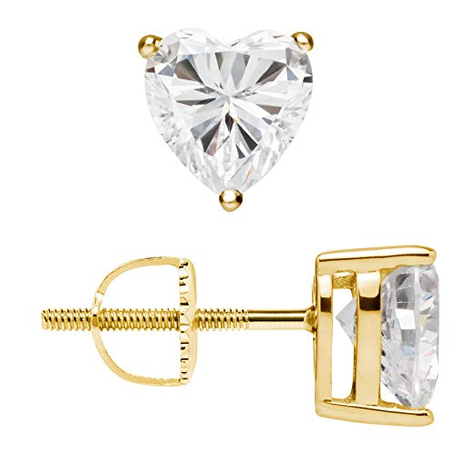 (14K Solid Yellow Gold Stud Earrings | Heart Cut Cubic Zirconia | Screw Back Posts | 1.5 CTW | With Gift Box)