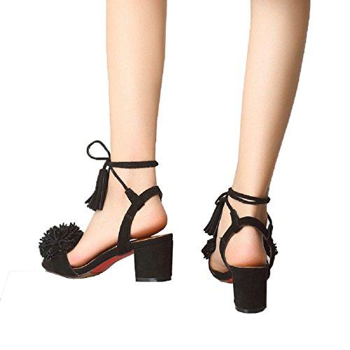 Fashion negro Mujer de T Sandalias Ante para amp;J Vestir de zw885tq