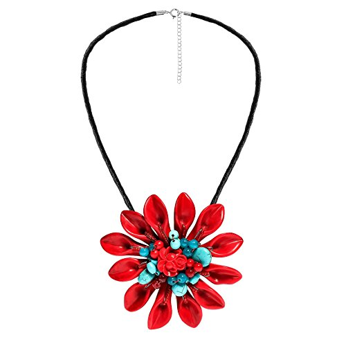 AeraVida Exotic Daisy Flower Red 2 in 1 Brooch Silk Necklace Coral Sterling Silver Brooch