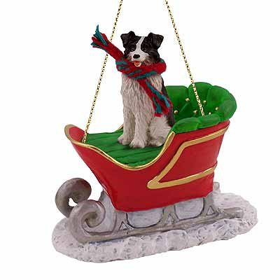 - Border Collie Dog in Sleigh Christmas Ornament New