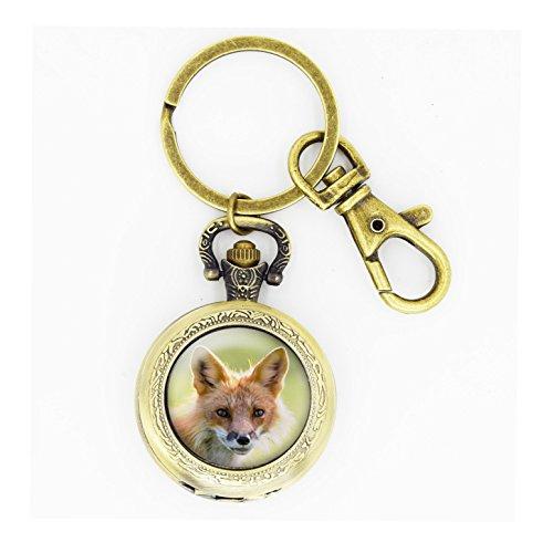 Wild Pocket Watch (Skyboby Fox pocket watch keychain Wildlife Photography pocket watch keyring, Red Fox Portrait pocket watch key)
