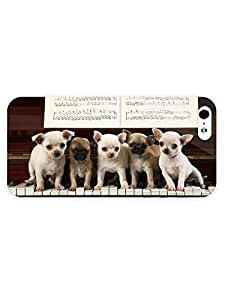3d Full Wrap Case for iPhone 5/5s Animal Chihuahua Puppies On The Piano