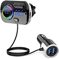 EiioX Bluetooth FM Transmitter for Car,Bluetooth 5.0 Radio Adapter QC3.0 Fast Car Charger Adapter Kit with 2 USB Ports,...