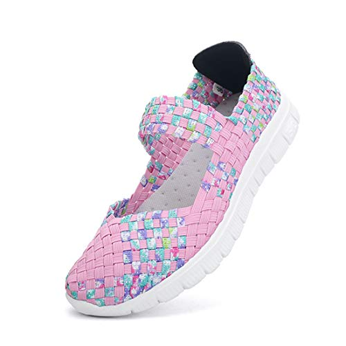 SEVENWELL Women's Woven Athletic Shoe Breathable Casual Walking Shoes Colorful Pink 240mm:7.5 B(M) US Women