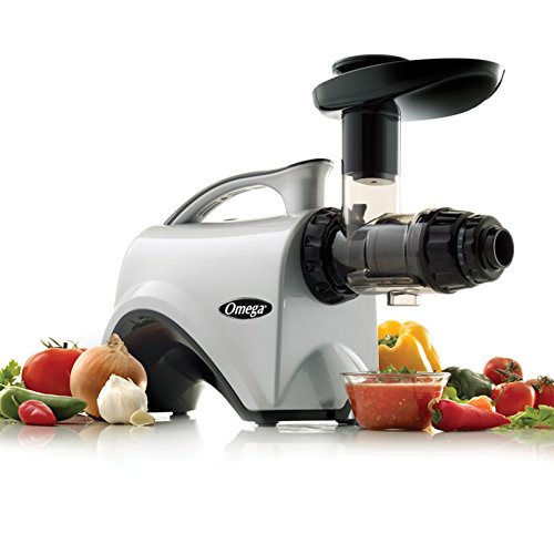 Omega Juicer NC800HDS Juice Extractor and Nutrition Center Creates Fruit Vegetable and Wheatgrass Juice Quiet Motor Slow Masticating Dual-Stage Extraction with Adjustable Settings, 150-Watt, Silver