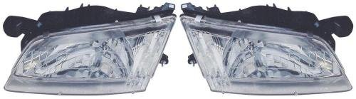 Go-Parts PAIR/SET OE Replacement for 1998-1999 Nissan Altima Front Headlights Headlamps Assemblies Front Housing/Lens / Cover - Left & Right (Driver & Passenger) Side for Nissan Altima