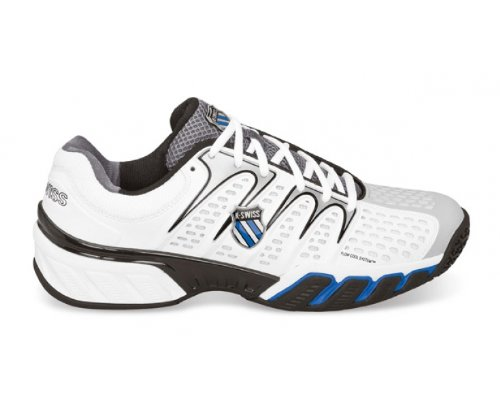 K-SWISS Big Shot II Men's Omni Tennis Shoe, White/Black/Silver/Blue, UK9.5