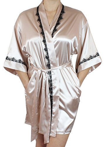 Women's Satin Bridesmaid Short Robe Lace Trim On Arms/Collar - Champagne - Monogrammed Satin