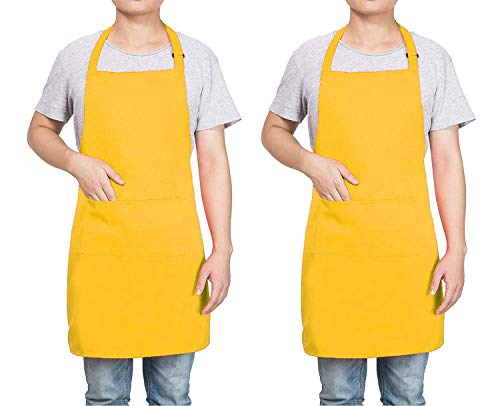 (Homsolver 2 Pack Adjustable Bib Apron with 2 Pockets Liquid Drop Waterdrop Resistant Cooking Kitchen Restaurant Bar Apron Black Aprons Chef Apron Unisex Aprons for Women Men (Yellow, Two Packs))