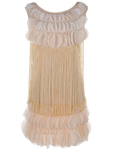 [Anna-Kaci Womens Gold Gatsby Flapper Petal Ruffle Fringe Short Mini Dress] (Gatsby Outfits)
