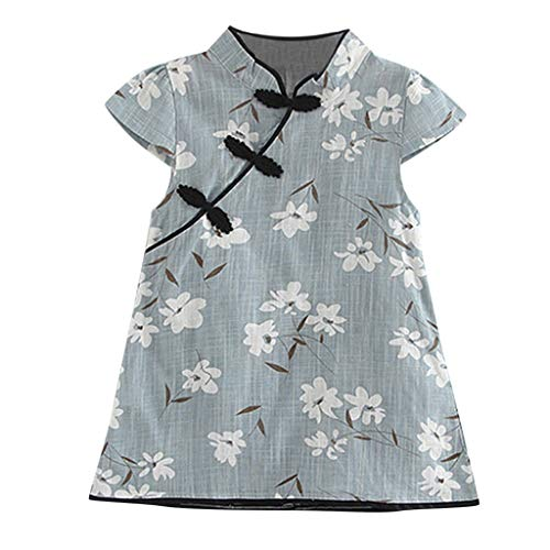 SOMESUN Girl s Chinese Cheongsam Floral Dress Sleeveless Cotton Princess  Skirt 554b525bd6d