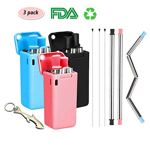 Minggo Collapsible Reusable Drinking Straws 3 pack, Food-grade Stainless Steel & Metal Silicone with Cleaning Brush & Carrying Case, for Home, Office,Travel, Party, Gym etc.