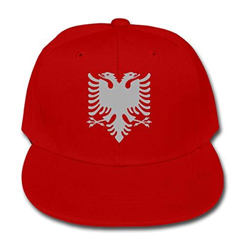 LWOSD Childs Baseball Cap, Albanian Eagle Plain Cotton Baseball Cap Sun Protect Ajustable Hats for Boys Girls Red