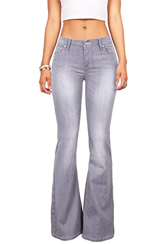 Celebrity Pink Women's Juniors High Waist Fitted Flare Bottom Jeans (1, Grey)