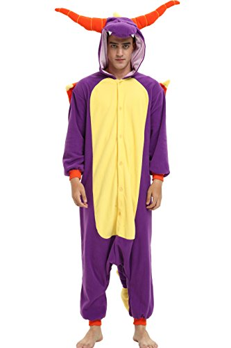Spyro The Dragon Onesie Costume for Adults and Teenagers, Halloween Kigurumi Pajama.L Purple]()