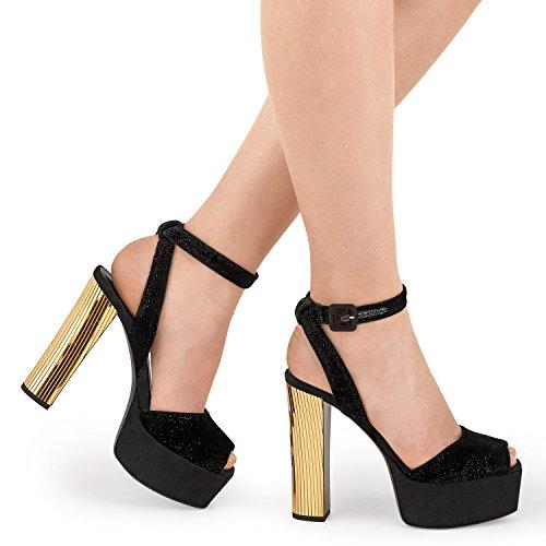 Zanotti Women's Black Sandals Suede Design I60105002 Giuseppe 8d4AqEwxx