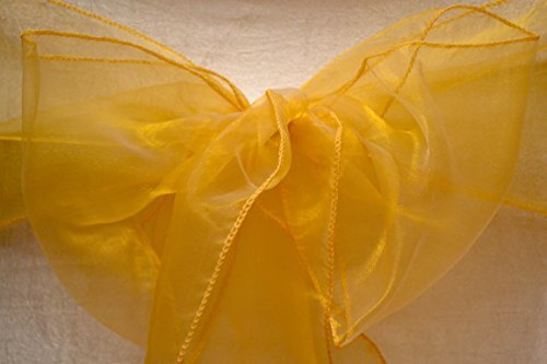 UK EVENT DECOR Organza Sash Chair Bows Cover for Wedding Reception Anniversary Party Bow Sashes ALL COLOURS AVAILABLE (Gold) by UK EVENT DECOR by UK EVENT DECOR