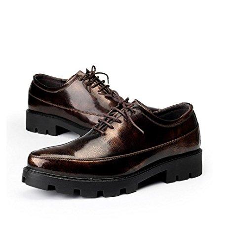WZG Nueva Inglaterra señaló los zapatos zapatos casuales de los hombres de peluquería de fondo grueso aumentaron 8cm Brown