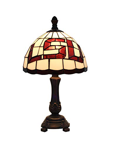 Yogoart NCAA 9 Inch LSU w/Tigers Logo - Stained Glass Desk Lamp 16 Inch Total Height