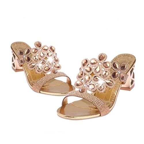 Baigoods SWomen Summer Fashion Flip Flops High Heel Sandals Fat Girls Rhinestone Crystal Wedges Shoes (US:5, Rose Gold) ()