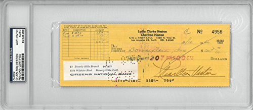 Charlton Heston Signed Authentic Autographed Check Slabbed PSA/DNA #83436266
