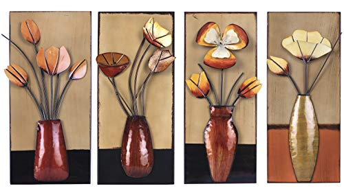 Art Maison BBB120 Floral in Metal Wall Décor, Set of 4 metal floral wall art
