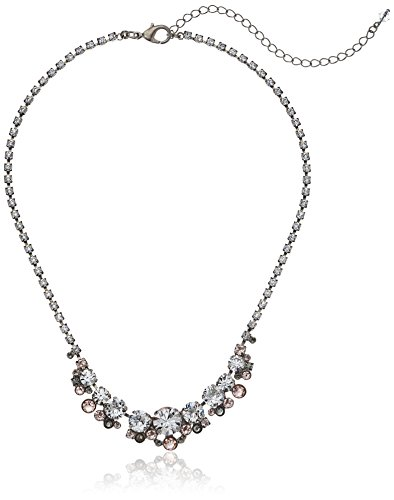 Cluster Multi Cut - Sorrelli Womens Snow Bunny Multi-Cut Round Crystal Cluster Line Necklace, Clear/Pink, 17