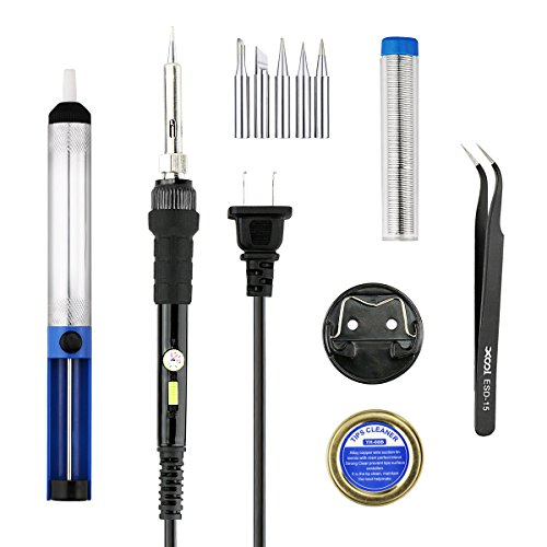 Soldering Iron Instrument Kit, 110V 60W Adjustable Temperature Welding Soldering with NO/OFF Switch, 5pcs Different Tips, Desoldering Pump, Stand, Anti-flak Tweezer and Solder Tip Cleaning Wire