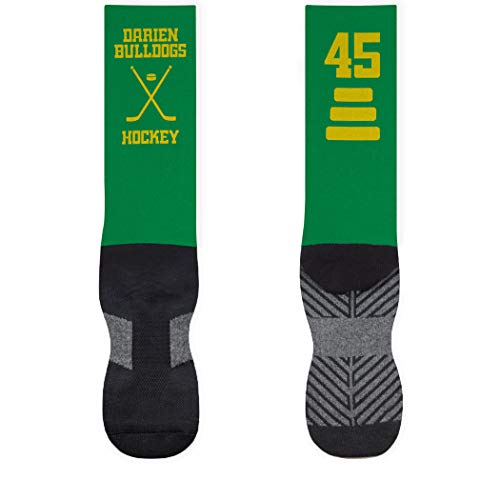 Hockey Stick Mid-Calf Socks | Custom Team Name & Number | Green/Yellow | LG
